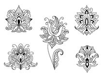 Black and white floral motifs of Persian paisleys Stock Photography