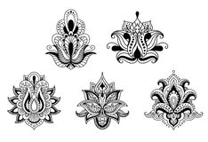 Black and white floral motifs of Persian style Stock Photo