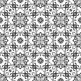 Black and white floral ornament, seamless pattern Royalty Free Stock Photo