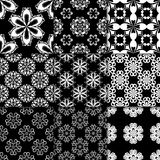 Black and white floral ornaments. Collection of seamless patterns Royalty Free Stock Image