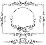 Black and white floral pattern. Cartouche for titles Stock Photography