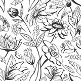 Black and white floral pattern Royalty Free Stock Photo