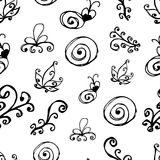 Black and white floral pattern.Seamless pattern Royalty Free Stock Image