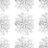 Black and white floral pattern vector. Stock Photography