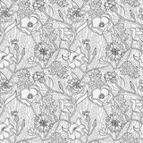 Black and white floral pattern with wheat and leaves. Seamless black and white natural pattern with flowers and wheat. Outline wallpaper vector illustration