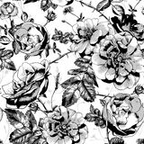 Black and White Floral Seamless Background Royalty Free Stock Photos