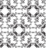 Black-white floral seamless ornament Stock Photos