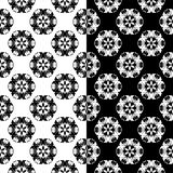 Black and white floral seamless ornaments. Set of backgrounds Stock Photography