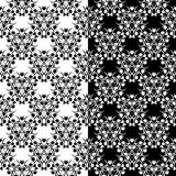 Black and white floral seamless ornaments. Set of backgrounds. Black and white floral backgrounds. Set of seamless designs for textile and wallpapers Stock Photos