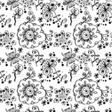 Black and white floral seamless pattern. Black and white floral seamless pattern with hand drawn flowers Royalty Free Stock Photo