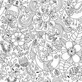 Black and white floral seamless pattern Royalty Free Stock Photos