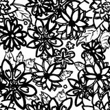 Black and white floral seamless pattern. Hand drawn white flower Royalty Free Stock Photography