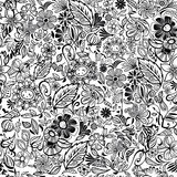 Black and white floral seamless pattern. Vector illustration Stock Image