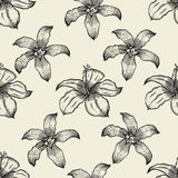Black and white floral seamless pattern Royalty Free Stock Photo