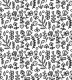 Black and white floral seamless pattern in vector. Spring endless background with flower, branch, heart, leaf etc. Royalty Free Stock Images