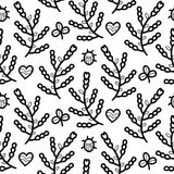 Black and white floral seamless vector pattern with ladybug, heart, flower, clover. Stock Images