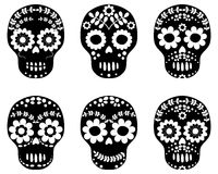 Black and white floral sugar skulls Stock Image
