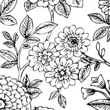 Black/White Floral Wallpaper. A black and white hand drawn floral design stock illustration
