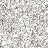 Black and white floral and wavy seamless pattern royalty free illustration