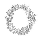 Black and white floral wreath Royalty Free Stock Photos