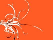 Black and White Flourish on Orange. A 3D rendered image of a black and white flourish on an orange background Royalty Free Stock Photos