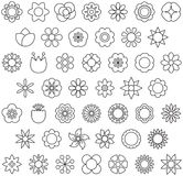 Black and white flower icons. Set of black and white illustrated flower graphics Stock Photo