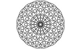 Black and White Flower Linear Mandala Royalty Free Stock Images