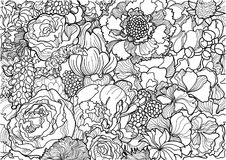 Black and white flower ornament Stock Image