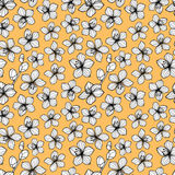 Black and white flower retro style seamless pattern. Yellow background Royalty Free Stock Image