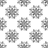 Black and white flower seamless background. Vector illustration Royalty Free Stock Image