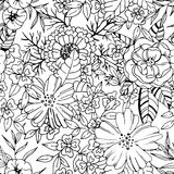 Black and white flower seamless pattern Stock Photography