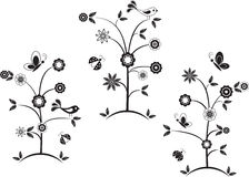 Black and White Flower Trees, Birds, Butterflies, Ladybugs Stock Photography
