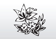 Black and white flowers royalty free illustration