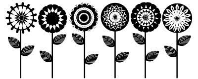 Black white flowers. Illustration isolated concept Royalty Free Stock Photo