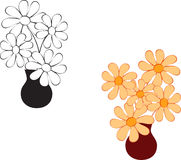 Black and White Flowers Illustrations , Yellwo Flowers. Black and white flowers arrangement in black vase, yellow floral arrangement in brown vase, flora, nature Stock Photography