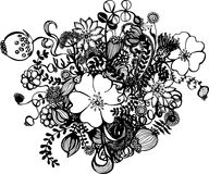 Black and white flowers isolated on white. Illustration of black and white flowers isolated on white Royalty Free Stock Photo