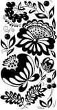 Black and white flowers, leaves and berries. Background painted in the old style Stock Images