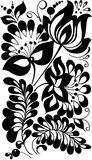Black and white flowers and leaves. Floral design element Stock Photography