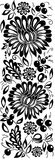 Black-and-white flowers, leaves. Floral design element in retro style Stock Image