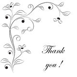 Black and White Flowers. And leaves, thank you card, flora,plants, floral illustration Royalty Free Stock Image