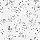 Black-and-white flowers pattern. Black-and-white pattern on a light gray background with black flowers and leafs Stock Illustration