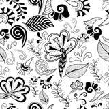 Black white flowers seamless Stock Photos