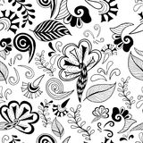 Black white flowers seamless. Black-white floral magic seamless pattern. Vector illustration Stock Photos