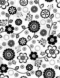 Black and White Flowers Seamless Repeat Pattern. Flowers Seamless Repeat Pattern Vector Illustration Background Stock Image