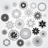 Black and white flowers. Vector illustration of a black and white flowers Stock Photo