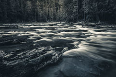Black and white flowing river. Royalty Free Stock Photos