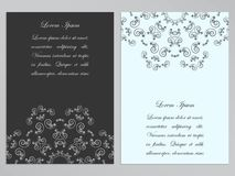 Black and white flyers with ornate floral pattern Royalty Free Stock Photos
