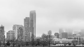 Black and White Foggy Downtown Chicago Royalty Free Stock Photos