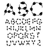 Black and white font alphabet Royalty Free Stock Image