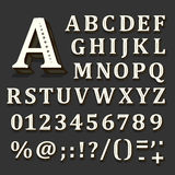 Black and white font on black background. The alphabet contains letters Stock Image